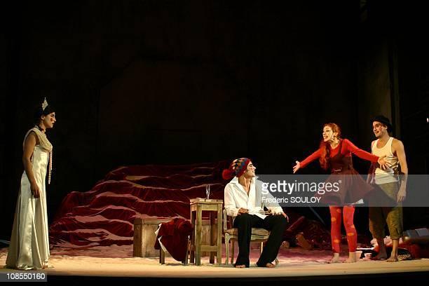 L'ile des esclaves of Pierre Marivaux staging with Irina Brook Lubna Azabal Alex Descas Stephanie Lagarde Sidney Wernicke and Fabio Zenoni in Paris...
