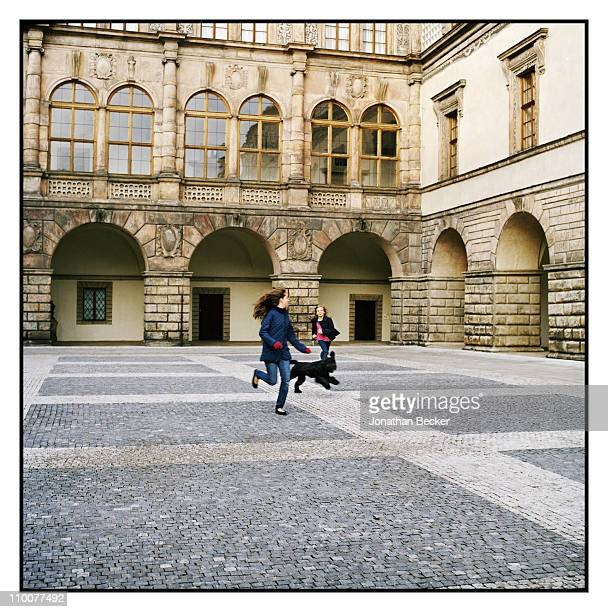 Ileana Lobkowicz and Sophia Lobkowicz are photographed in the courtyard of Nelahozeves Castle for Vanity Fair Magazine on December 17 2009 in Prague...