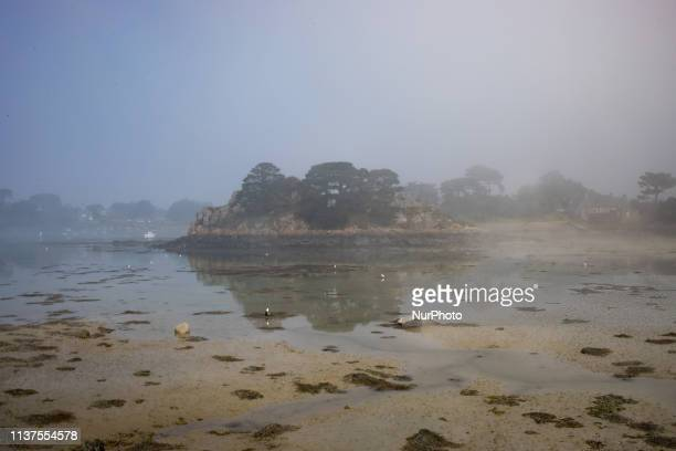 Ile-de-Brehat, Brittany, France, March 30, 2019. An anchorage on the island of Brehat. Nicknamed the Flower Island, the archipelago benefits from the...