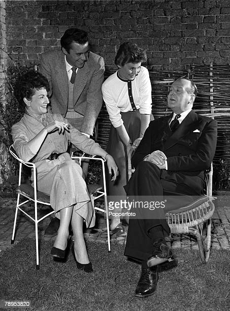 Ilene Herlie Cecil Parker Susan Stephen and Dirk Bogarde rehearse for their parts in the film 'For Better for Worse' Directed by J Lee Thompson and...