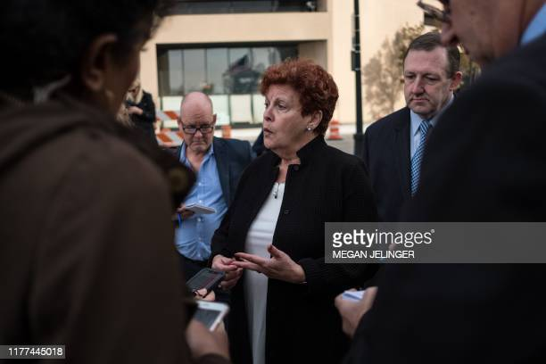 Ilene Shapiro Executive Director of Summit County briefs the press after an opioid trial in Cleveland Ohio on October 21 2019 Three leading drug...