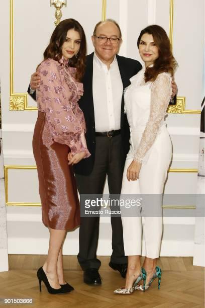 Ilenia Pastorelli Carlo Verdone and Maria Pia Calzone attend the 'Benedetta Follia' photocall at ST Regis Hotel on January 5 2018 in Rome Italy