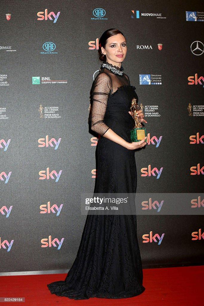 Ilenia Pastorelli poses with her David di Donatello award for Best Actress at the 60. David di Donatello ceremony on April 18, 2016 in Rome, Italy.