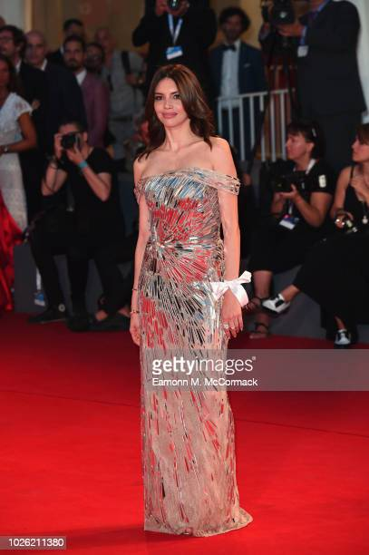 Ilenia Pastorelli walks the red carpet ahead of the 'The Sisters Brothers' screening during the 75th Venice Film Festival at Sala Grande on September...
