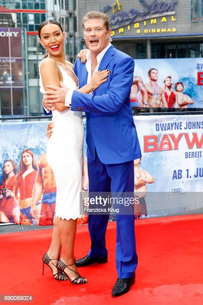 Ilfenesh Hadera and David Hasselhoff attend the 'Baywatch' Photo Call in Berlin on May 30 2017 in Berlin Germany
