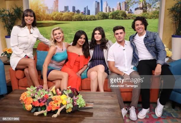 Ilfenesh Hadera Kelly Rohrbach Priyanka Chopra Alexandra Daddario Zac Efron and Jon Bass are seen on the set of 'Despierta America' to promote the...