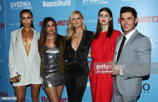 Ilfenesh Hadera Priyanka Chopra Kelly Rohrbach Alexandra Daddario and Zac Efron attend the screening of 'Baywatch' hosted by The Cinema Society at...