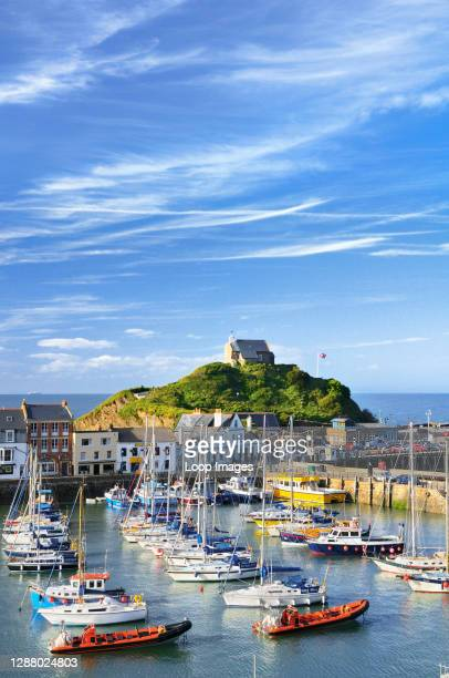 Ilfracombe harbour and St Nicholas Chapel on the North Devon coast.