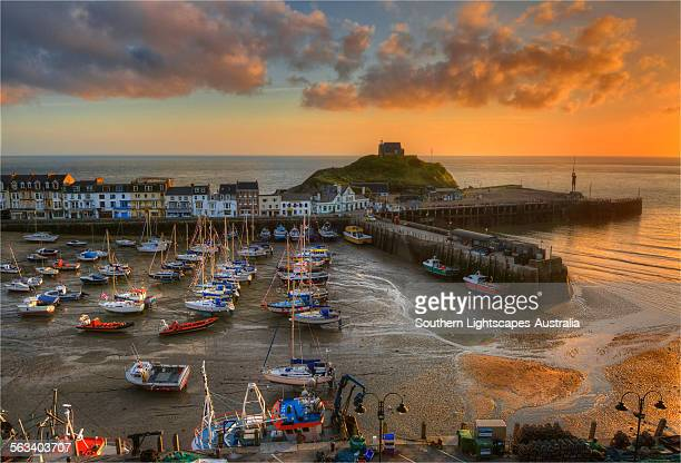 ilfracombe harbour at dawn - low tide stock pictures, royalty-free photos & images