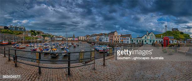 ilfracombe harbour panorama - ilfracombe stock photos and pictures