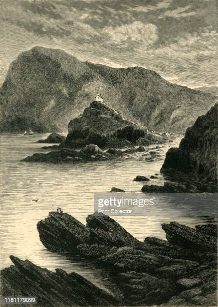 Ilfracombe View from the Rocks at the Base of the Capstone' 1898 Natural harbour on the North Devon coast England a safe harbour since mid17th...