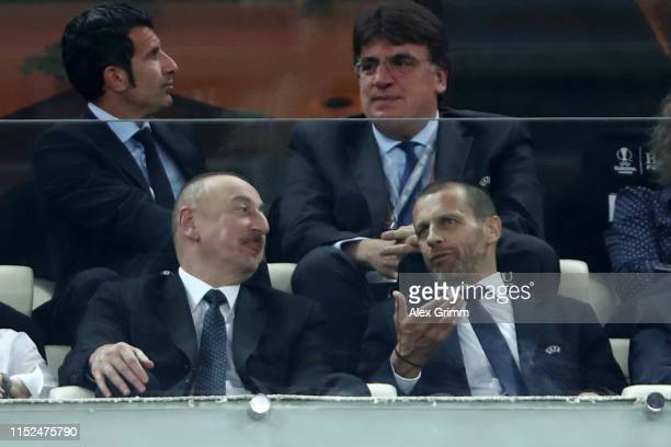 Ilham Aliyev President of Azerbaijan speaks with Aleksander Ceferin President of UEFA in the stands prior to the UEFA Europa League Final between...
