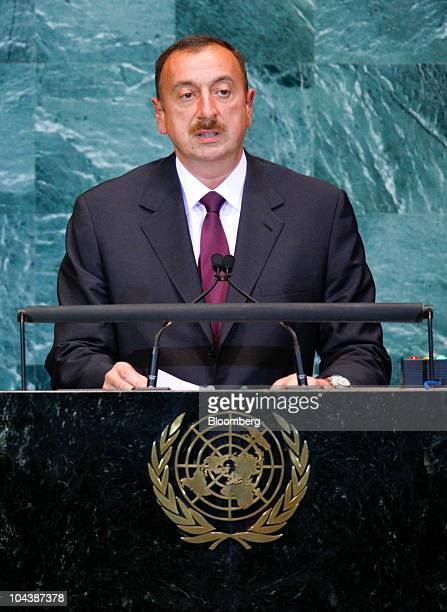 Ilham Heydar oglu Aliyev president of Azerbaijan speaks during the 65th annual United Nations General Assembly at the UN in New York US on Thursday...
