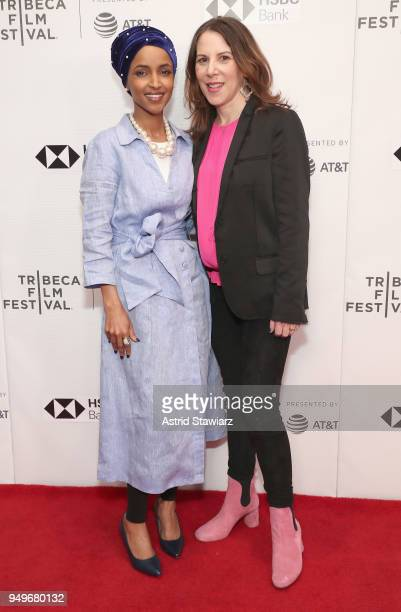 Ilhan Omar and filmmaker Norah Shapiro attends the premiere of Time For Ilhan during the 2018 Tribeca Film Festival at Cinepolis Chelsea on April 21...