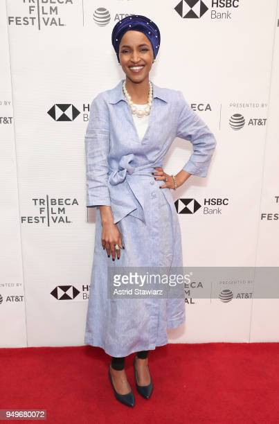 Ilhan Omar attends the premiere of Time For Ilhan during the 2018 Tribeca Film Festival at Cinepolis Chelsea on April 21 2018 in New York City