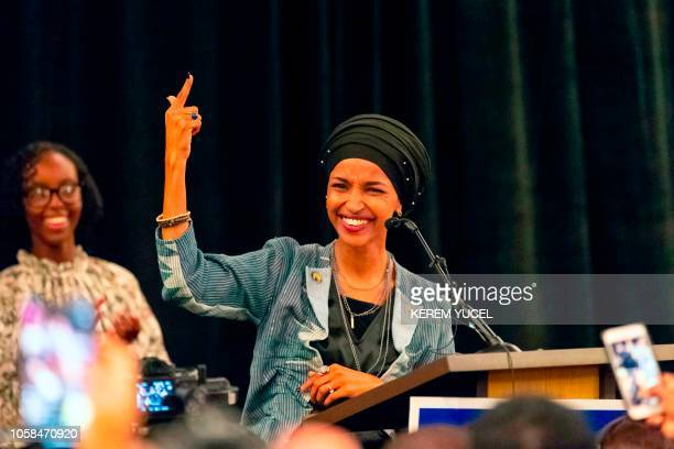 TOPSHOT Ilhan Omar newly elected to the US House of Representatives on the Democratic ticket speaks to a group of supporters in Minneapolis Minnesota...