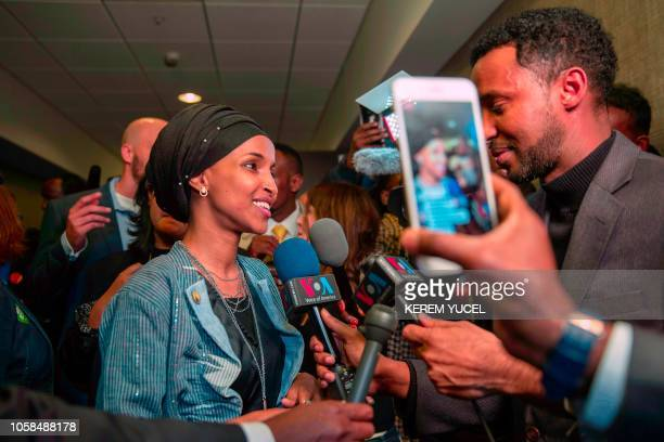 Ilhan Omar newly elected to the US House of Representatives on the Democratic ticket speaks to the press in Minneapolis Minnesota on November 6 2018...