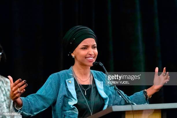 Ilhan Omar newly elected to the US House of Representatives on the Democratic ticket speaks to a group of supporters in Minneapolis Minnesota on...