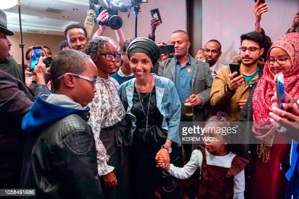 Ilhan Omar newly elected to the US House of Representatives on the Democratic ticket arrives with her daughter Ilwad for her victory party on...