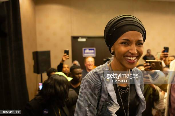 Ilhan Omar newly elected to the US House of Representatives on the Democratic ticket arrives for her victory party on election night in Minneapolis...