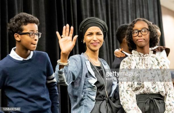TOPSHOT Ilhan Omar newly elected to the US House of Representatives on the Democratic ticket celebrates with her son Adnan and daughter Isra after...