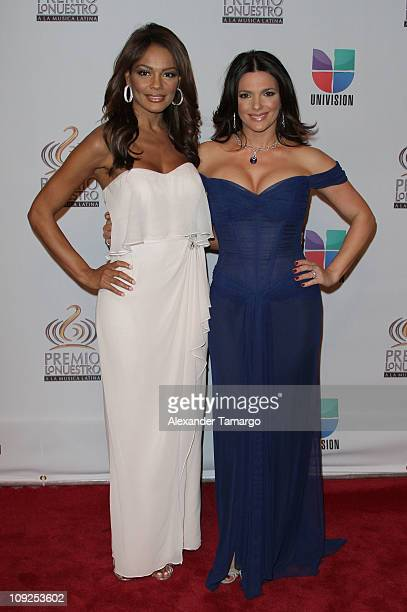 Ilia Calderon and Barbara Bermudo arrive at Univision's Premio Lo Nuestro a La Musica Latina Awards at AmericanAirlines Arena on February 17 2011 in...