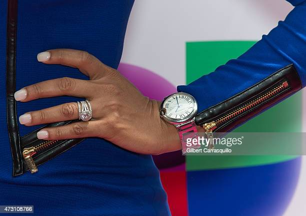 Ilia Calderon jewelry detail attends Univision's 2015 Upfront at Gotham Hall on May 12 2015 in New York City