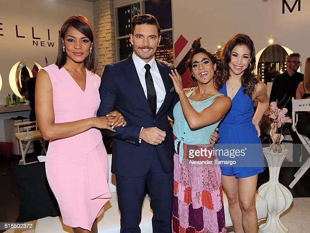 Ilia Calderon Julian Gil Francisca Lachapel and Biana Marroquin are seen backstage on the set of Nuestra Belleza Latina at Univision Studios on March...