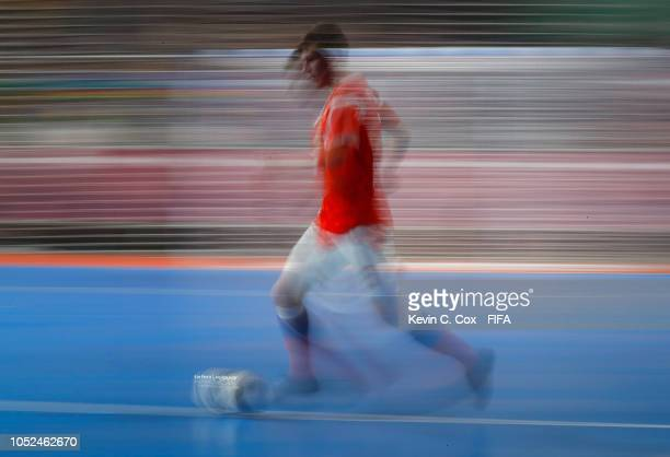 Ilia Fedorov of Russia in action against Brazil in the Men's Futsal Final match between Brazil and Russia during the Buenos Aires Youth Olympics 2018...