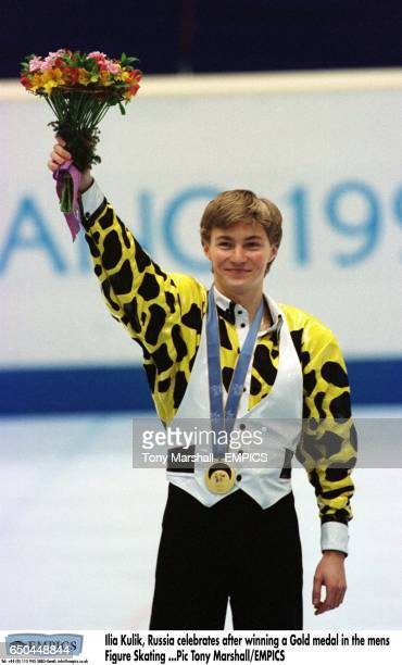 Ilia Kulik Russia celebrates after winning a Gold medal in the mens Figure Skating
