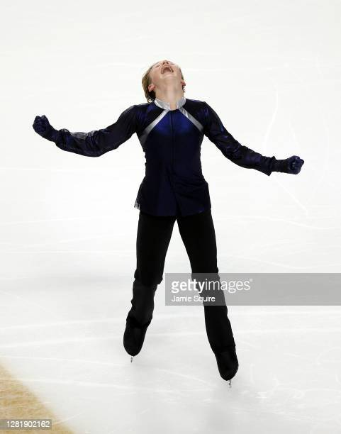 Ilia Malinin of the USA competes in the Mens Short Program during the ISU Grand Prix of Figure Skating at the Orleans Arena on October 23, 2020 in...