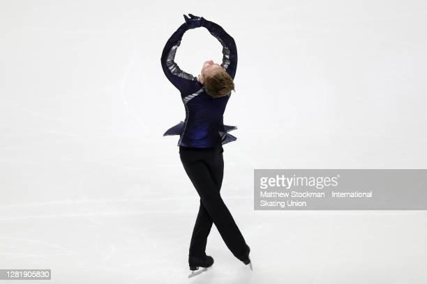 Ilia Malinin skates in the Men's Short Program during the ISU Grand Prix of Figure Skating at Orleans Arena October 23, 2020 in Las Vegas, Nevada.
