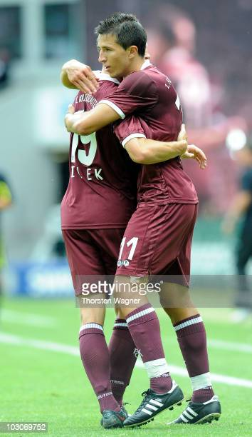 Ilian Micanski celebrates after scoring the 10 with his team mate Jiri Bilek during the internatonal preseason friendly match between 1FC...