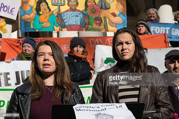 Iliana SalazarDodge and Daniela Lapidous from the student group Columbia Divest for Climate Change speak to the press at a premarch press conference...