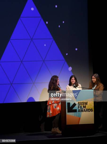 Iliana Sosa Chelsea Hernandez and Monica Santis accept the SXSW Texas Shorts/Jury award for 'An Uncertrain Future' award at the SXSW Film Awards show...