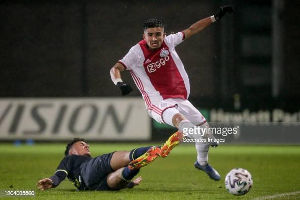 Ilias Bronkhorst of Telstar, Naci Unuvar of Ajax U23 during the Dutch Keuken Kampioen Divisie match between Ajax U23 v Telstar at the De Toekomst on...
