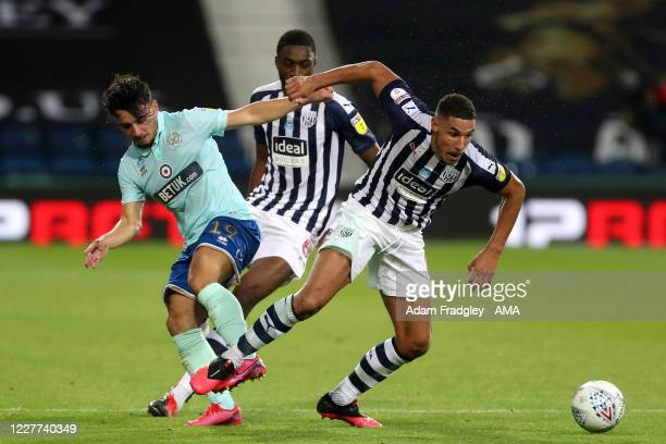 Ilias Chair of Queens Park Rangers and Jake Livermore of West Bromwich Albion during the Sky Bet Championship match between West Bromwich Albion and...