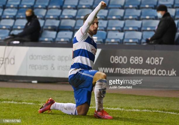 Ilias Chair of Queens Park Rangers celebrates scoring their sides first goal during the Sky Bet Championship match between Millwall and Queens Park...