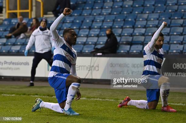 Ilias Chair of Queens Park Rangers celebrates with teammate Bright Osayi-Samuel after scoring their team's first goal during the Sky Bet Championship...