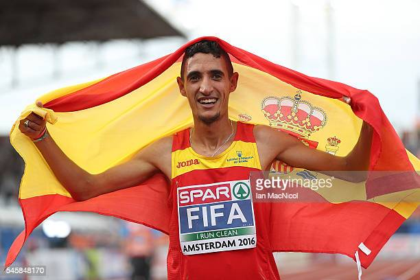 Ilias Fifa of Spain celebrates after winning gold in the final of the mens 5000m on day five of The 23rd European Athletics Championships at Olympic...