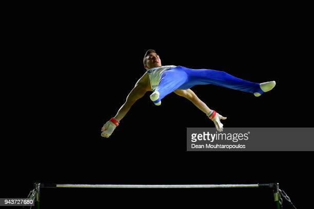 Ilias Georgiou of Cyprus competes in the Men's Horizontal Bar Final during Gymnastics on day five of the Gold Coast 2018 Commonwealth Games at...