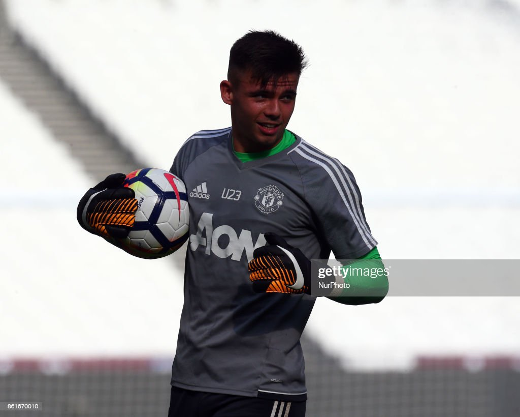 Ilias Moutha-Sebtaouni of Manchester United's Under 23 during Premier League 2 Division 1 match between West Ham United Under 23s and Manchester United Under 23s at London Stadium, London , England on 15 Oct 2017.