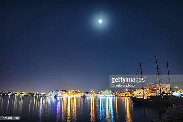 ilica at night from zildizburnu marina - emreturanphoto stock pictures, royalty-free photos & images