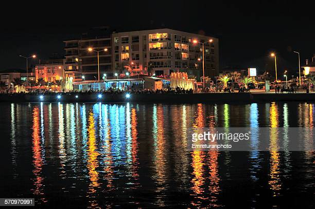 ilica shore with cafes and full reflection - emreturanphoto stock pictures, royalty-free photos & images