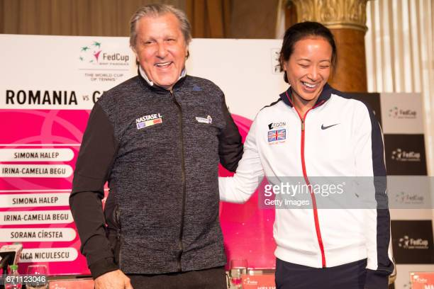 Ilie Nastase and Anne Keothavong pose for photos following a Great Britain Fed Cup training session at Tenis Club IDU on April 21 2017 in Constanta...