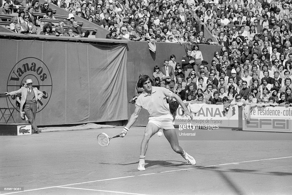 Ilie Nastase from Romania during the 1973 Roland Garros French Open.
