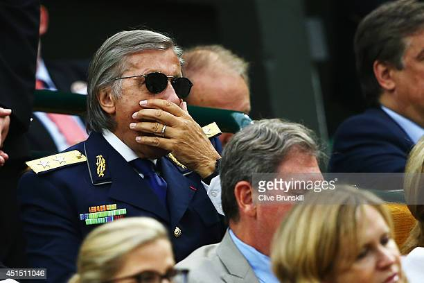 Ilie Nastase looks on from the Royal Box on day seven of the Wimbledon Lawn Tennis Championships at the All England Lawn Tennis and Croquet Club on...