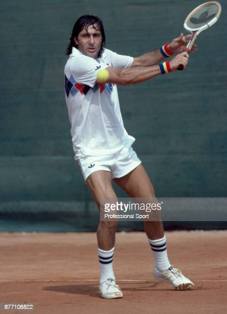 Ilie Nastase of Romania in action during the French Open Tennis Championships at the Stade Roland Garros circa June 1982 in Paris France