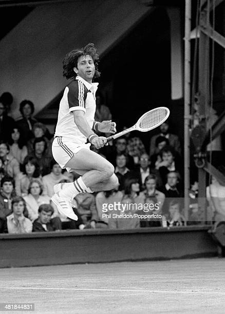 Ilie Nastase of Romania in action during the Wimbledon Lawn Tennis Championships held in London 28th June 1980