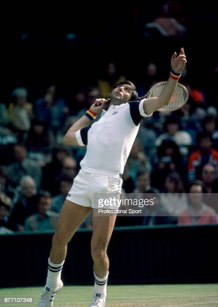 Ilie Nastase of Romania in action during the Wimbledon Lawn Tennis Championships at the All England Lawn Tennis and Croquet Club circa June 1980 in...